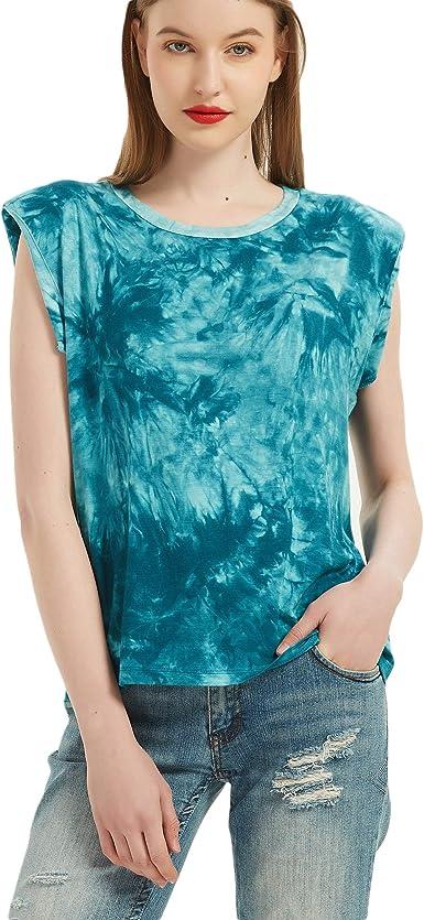 Womens Tie Dye Printed Casual Sleeveless Vest Tank Top