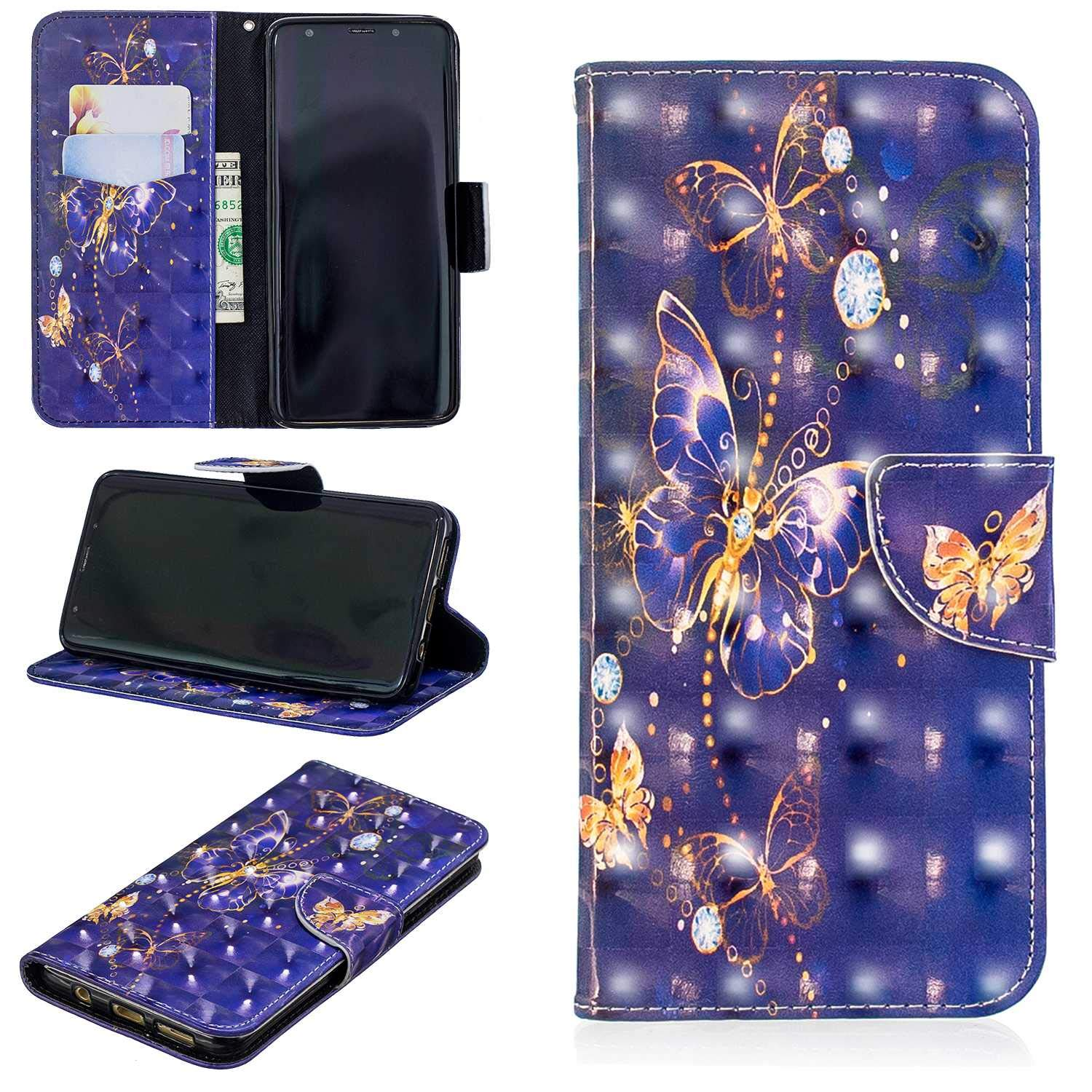 CUSKING Galaxy S9 Plus Case, Premium 3D Design Wallet Case Stand Flip Case with Card Holders and Magnetic Closure, Multi-Functional Shockproof Case for Samsung Galaxy S9 Plus - Purple, Butterfly