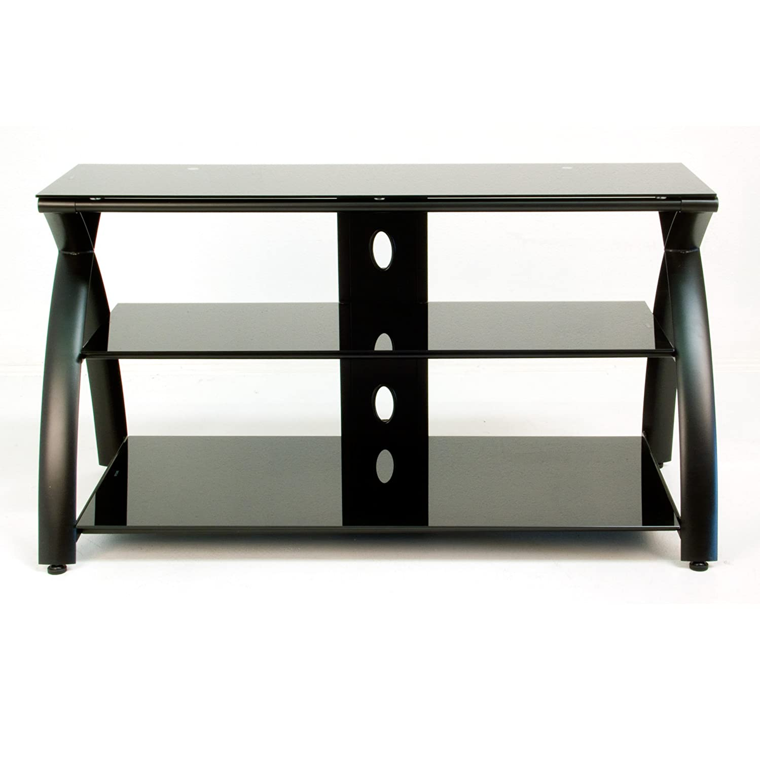 Calico Designs Futura TV Stand in Black with Black Glass 50601