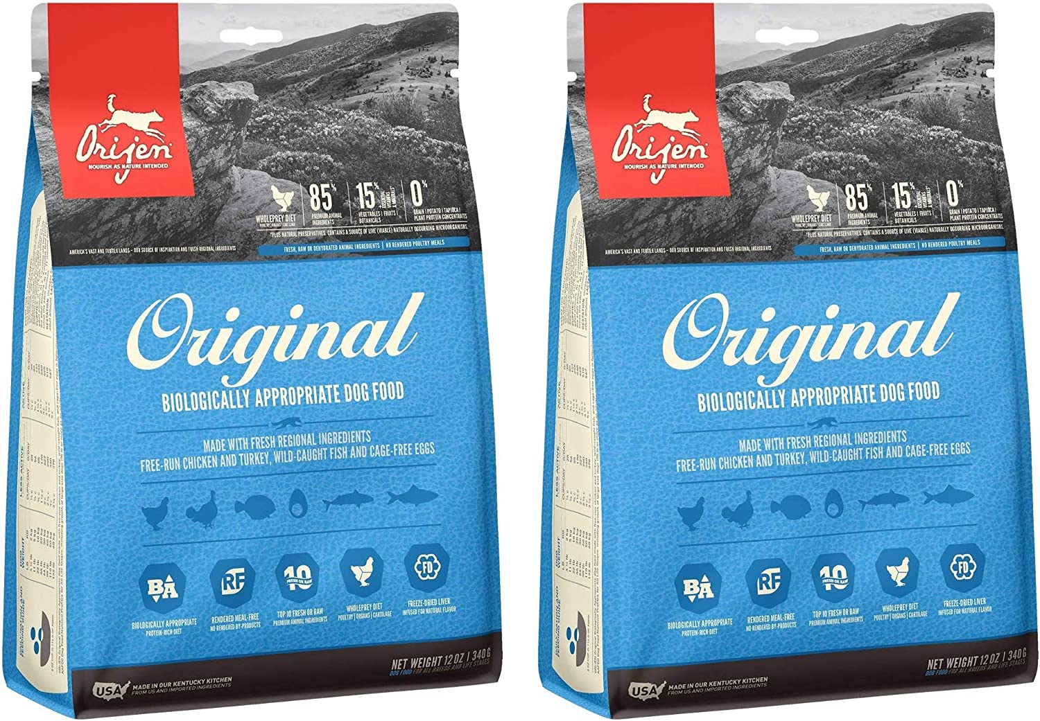 Orijen 2 Bags of Original Dog Food, 12 Ounces Each, High Protein, Grain Free, Made in The USA