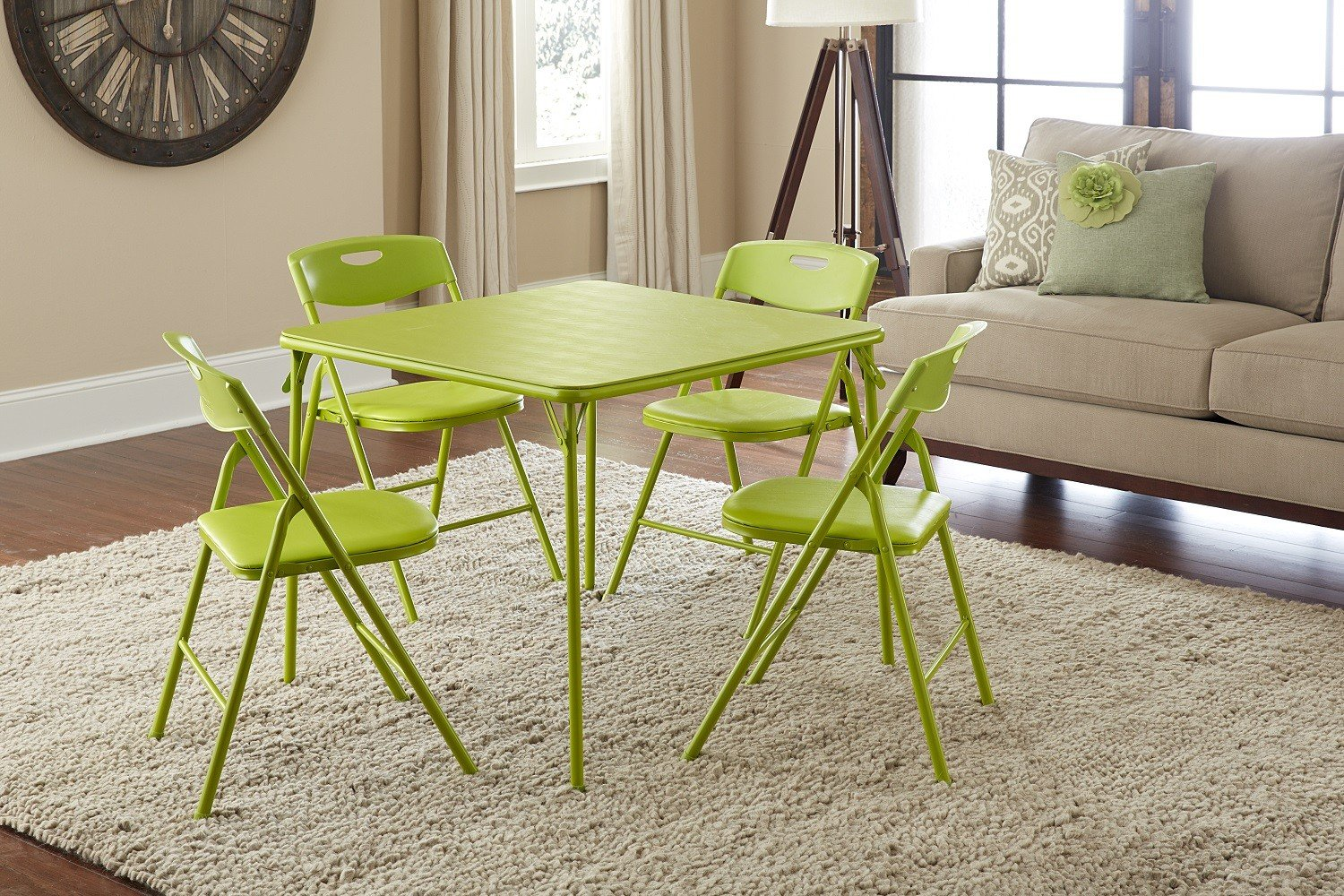 Amazon.com: Cosco 5 Piece Folding Table And Chair Set, Apple Green: Kitchen  U0026 Dining