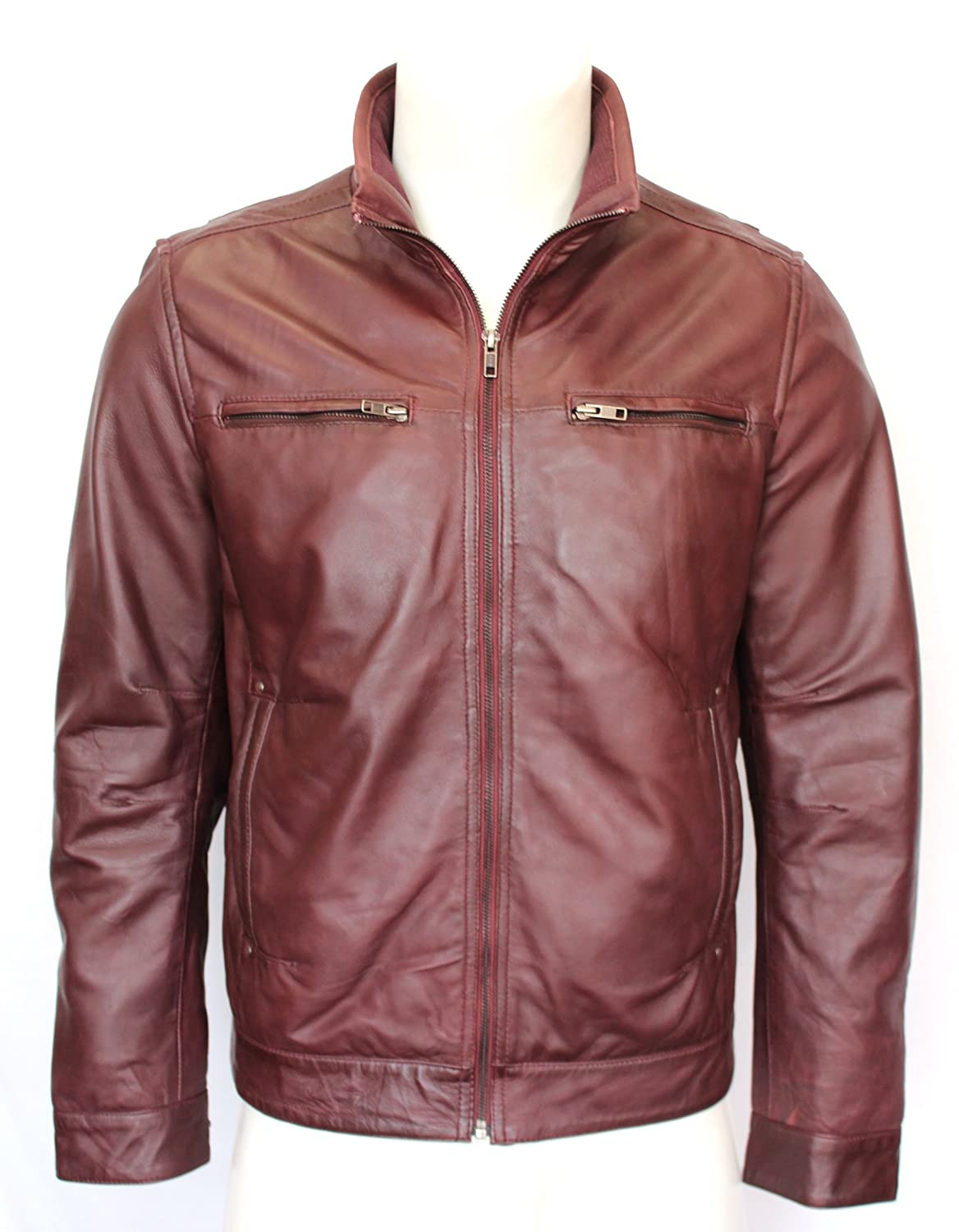 Romeo Men's Gents Wine Designer Fitted Classic Zipped Casual Real Leather Jacket