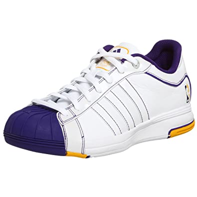 online store 3a9e0 64a38 adidas Mens 2G08 Los Angeles Lakers Basketball Shoe,WhitePurpleGold,9.5