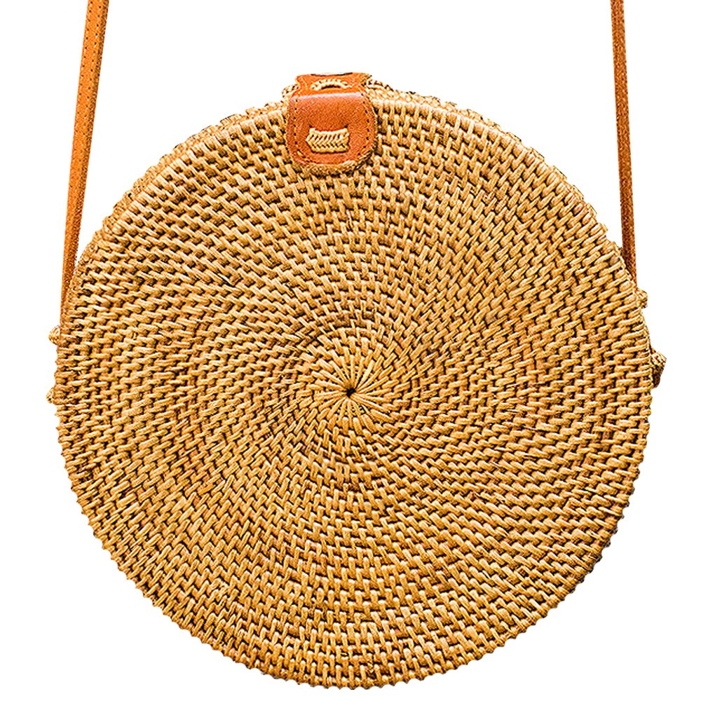 JavaCrafts Handwoven Rattan Bag Round Circle Tropical Style Crossbody Woven Tote Basket Bali Bag Leather Buckle (Round Woven 24cm, Light Brown)