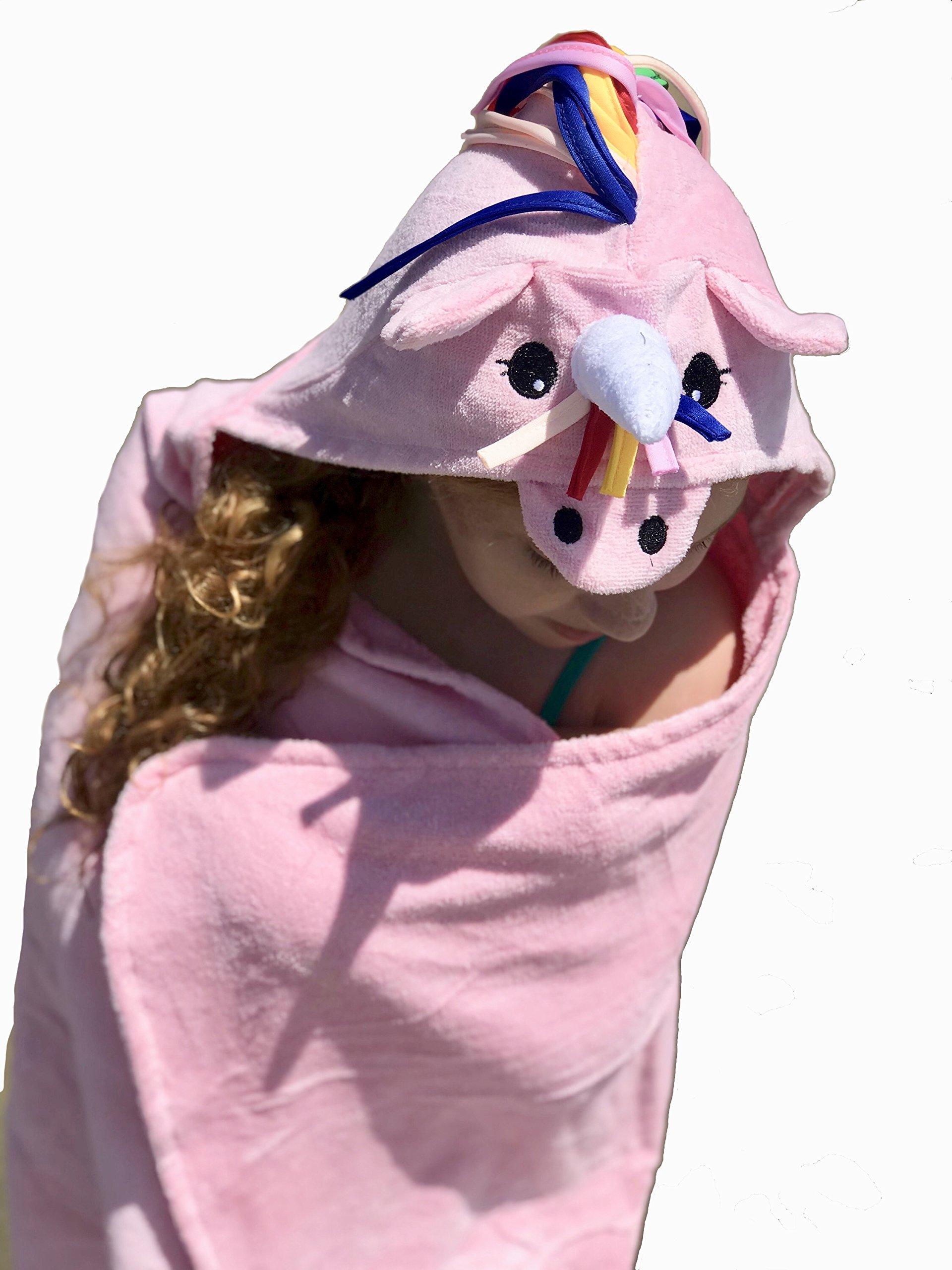 Mermaid's Kisses Hooded Pink Rainbow Unicorn Horn Towel with Matching Bath Mitt by Mermaid's Kisses