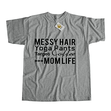 71b5f35fe7 Mum Shirt Messy Hair Yoga Pants Target Coffee Mom Life Tees Mothers ...