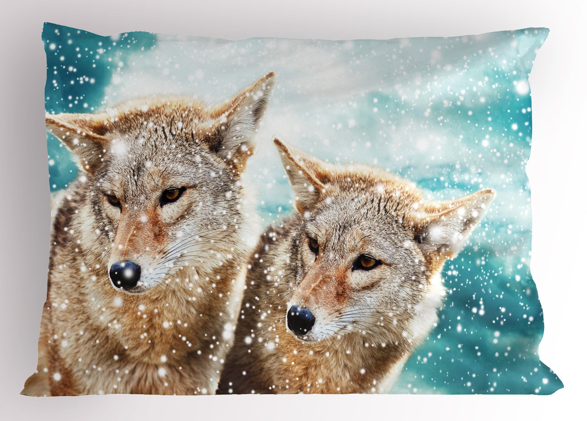 Lunarable Animal Pillow Sham, Two Coyote Wolf Partners Under Snowy Winter Day Wild Creatures Mammal Picture, Decorative Standard Size Printed Pillowcase, 26 X 20 inches, Sand Brown Teal