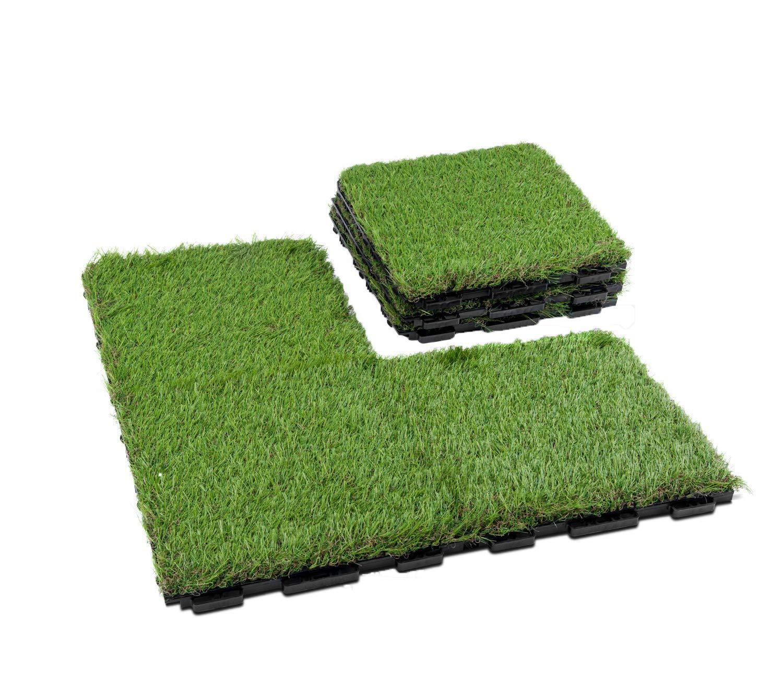 GOLDEN MOON Fake Grass Upgrade Interlocking Mat Artificial Grass Turf Tiles for Dog Pee Pads, Indoor Outdoor Flooring Decor, 1x1 ft, 6 Pack