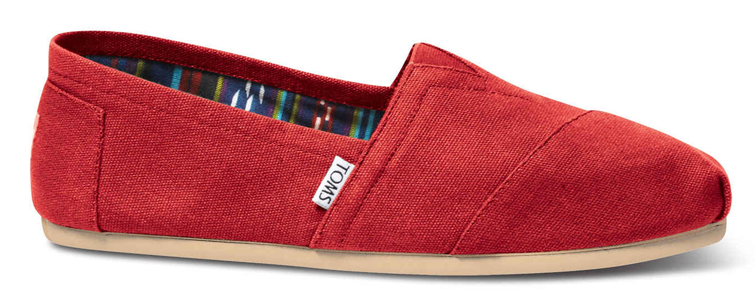 TOMS Men's Classic Canvas Slip On Red 8 D(M) US