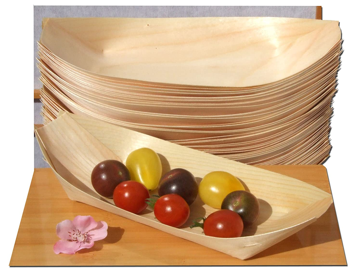 Bamboo Wood Boats Large x100 for party foods, snacks, nibbles, canapé 225X125mm canapé 225X125mm KitchenCentre