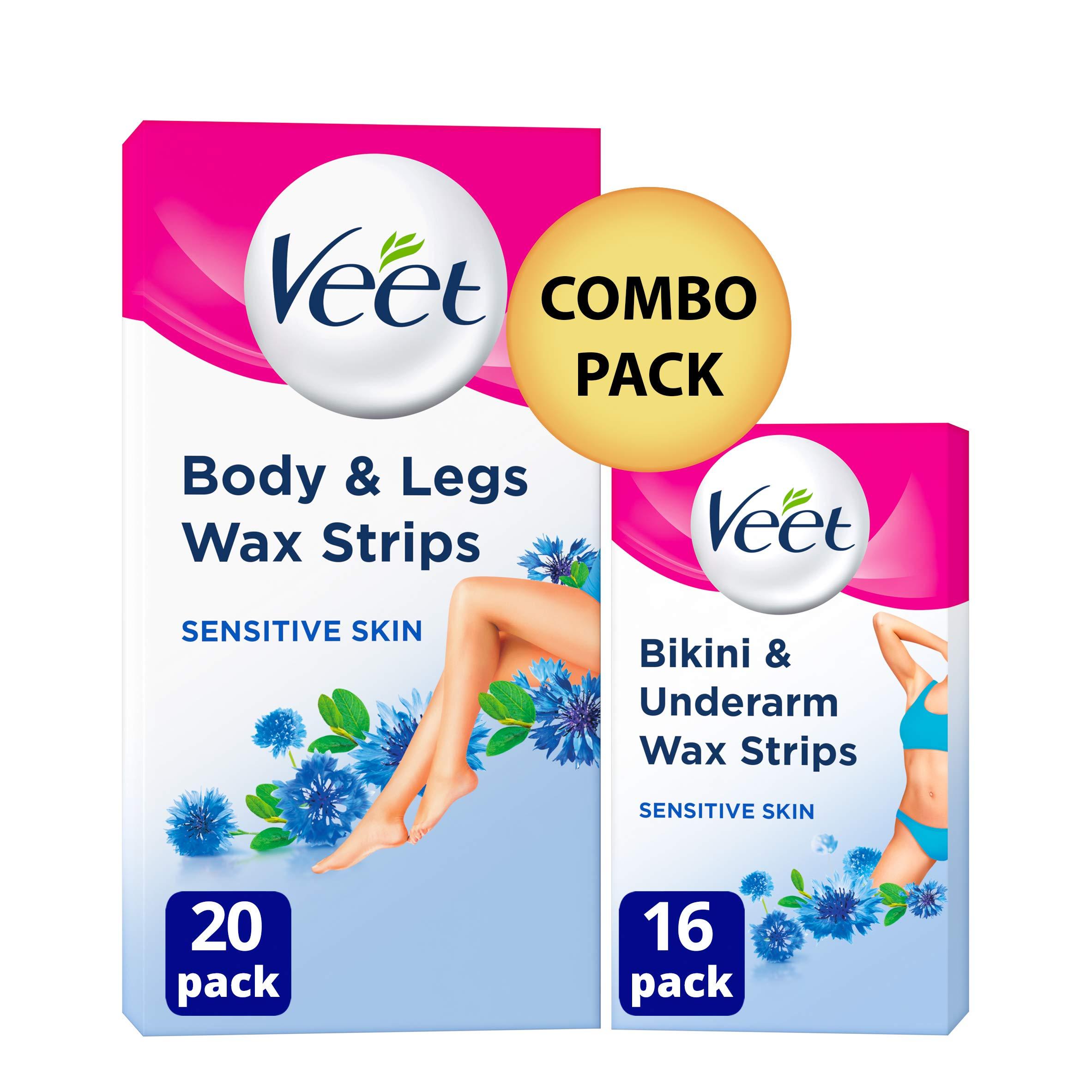 Veet Hair Removal Wax Strips For Sensitive Skin Bikini Underarm
