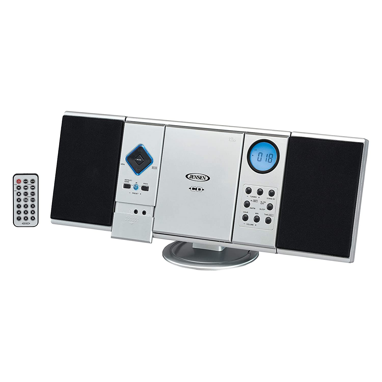Jensen Modern Black Series JMC-180SB Wall Mountable Vertical Loading CD Music System, Digital AM/FM Stereo with Speakers, Aux-in, & Headphone Jack Remote Control (Black Series Edition Model) JMC-180SB Black Series Model