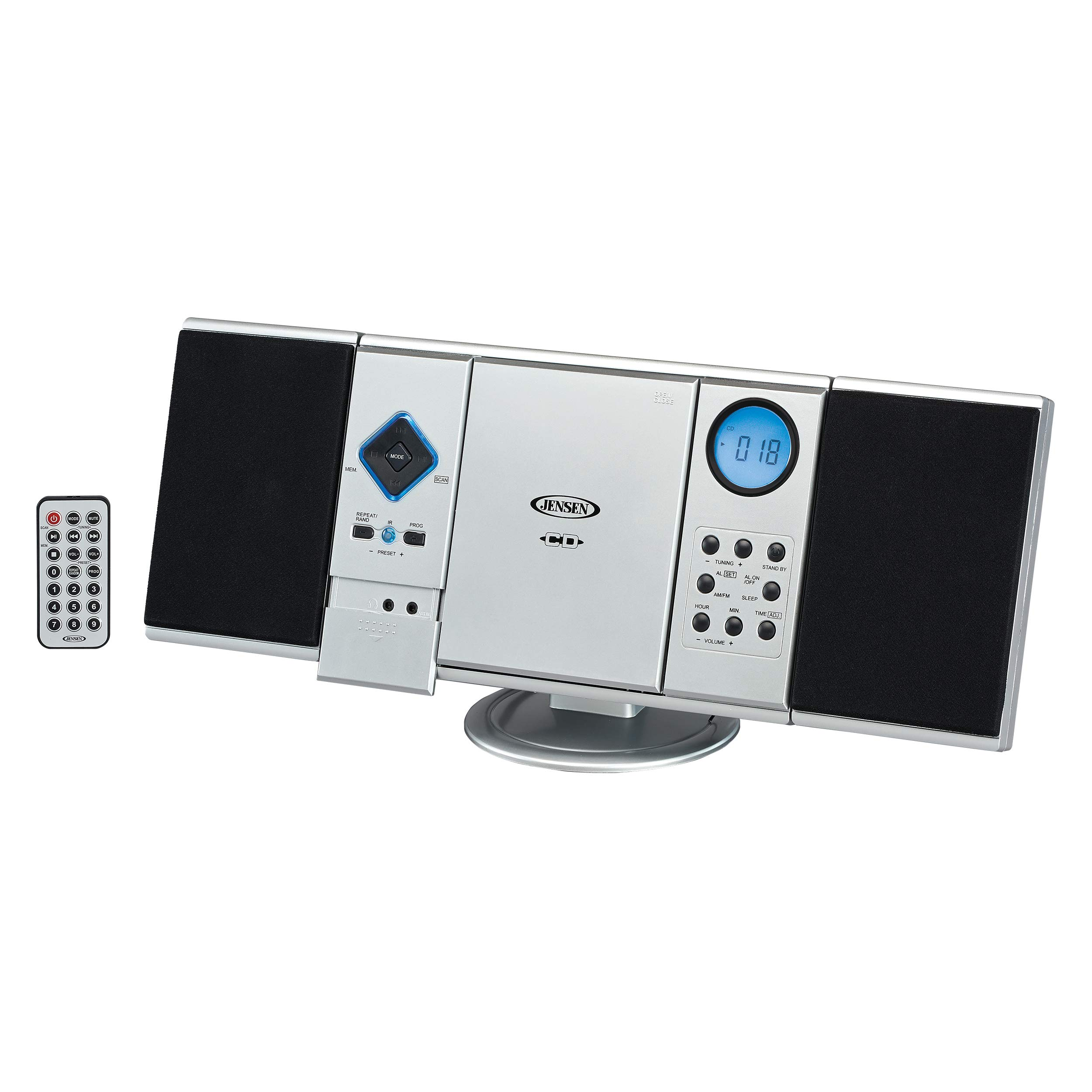 Jensen Modern Black Series JMC-180SB Wall Mountable Vertical Loading CD Music System, Digital AM/FM Stereo with Speakers, Aux-in, & Headphone Jack Remote Control (Silver) by Jensen