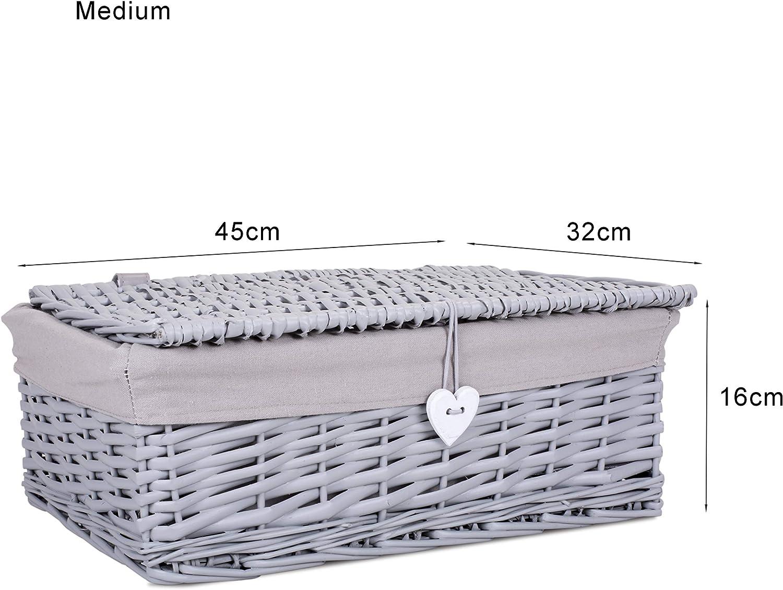 Medium Grey Painted Lid Wicker Storage Collection Hamper Wicker Basket