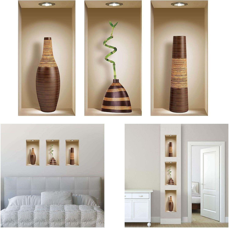 Ensemble de 3 LNisha Art Magic Vinyle 3D Autocollants Mural Amovible Bricolage Bonsa/ï