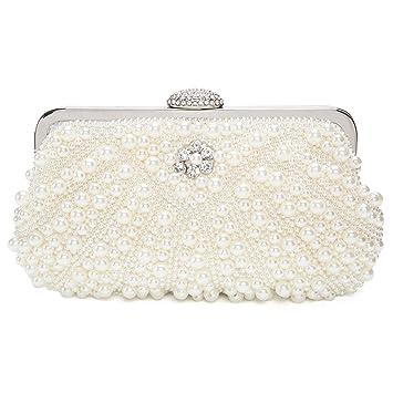 e2845fed338 Amazon.com  Handmade Pearl Bead Rhinestone Evening Clutch Fashion Purse  Wedding bags  Kaever