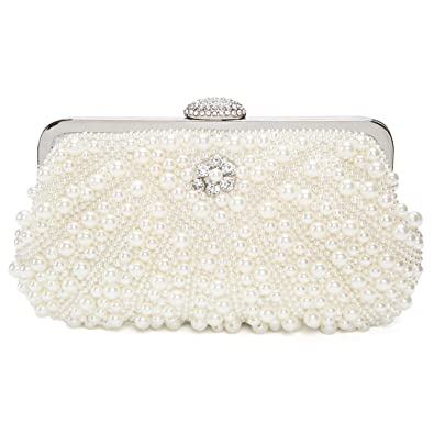 4b1dae9cf821a Handmade Pearl Beaded Rhinestone Clasp Clutch Bag Evening Wedding Party Handbag  Clutch Purse: Amazon.co.uk: Shoes & Bags