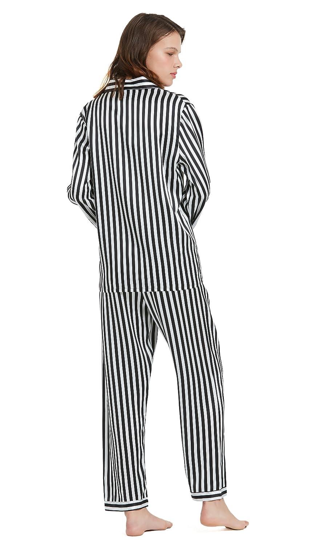 82140924e9 LILYSILK Women s 100 Silk Pyjama Set Long Pajamas Ladies 2Pcs 22 Momme Pure  Mulberry Silk Charmeuse with Black and White Stripe  Amazon.co.uk  Clothing