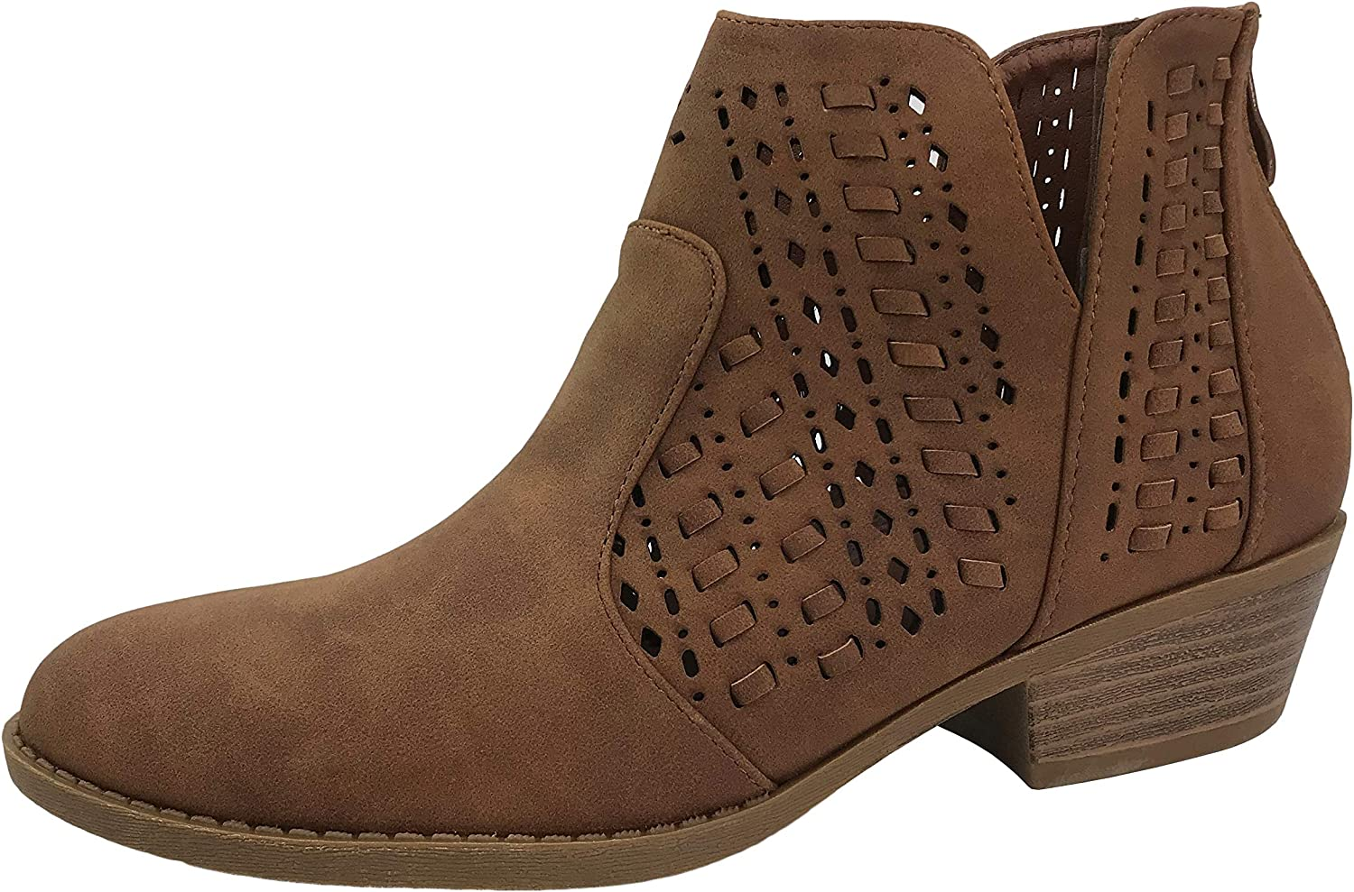 Soda Chance Perforated Cut Out Stacked Block Heel Ankle Booties Light Brown Dist