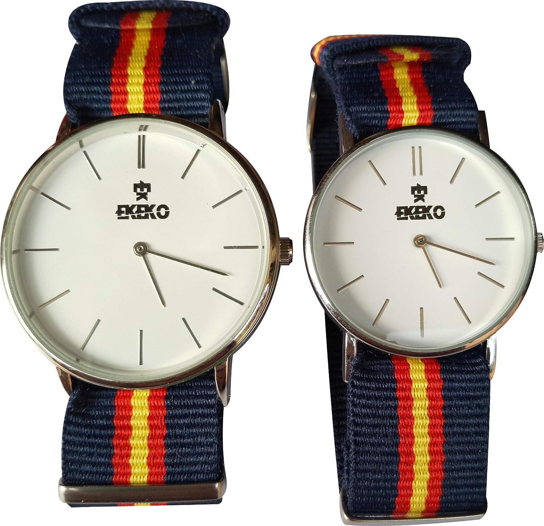 Pack 2 Unidades Relojes Hombre 1ud (40mm) y Mujer/Junior 1 ud (37mm) Correa de Nylon. EKEKO SPORT Mod. ESPAÑA: Amazon.es: Relojes