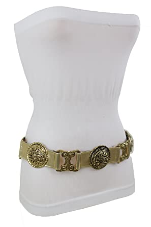 Women Gold Metal Ethnic Filigree Charm Bohemian Faux Leather Belt Hip Waist S M