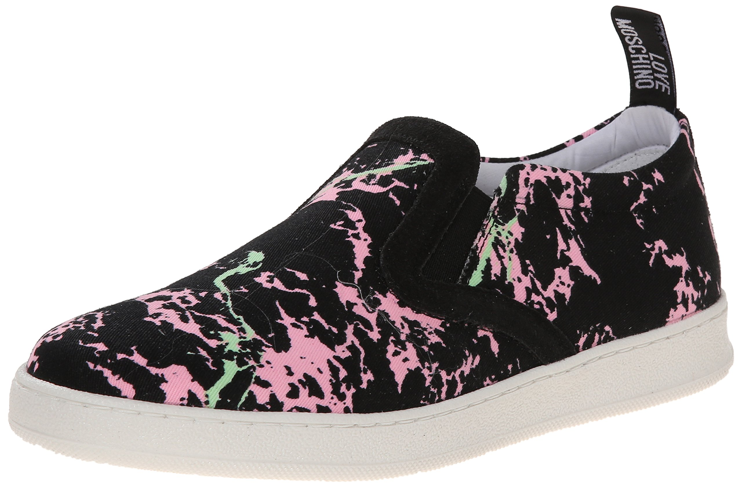 Love Moschino Women's Crakled Print High Top Fashion Sneaker, Multi, 40 BR/10 M US