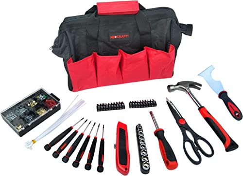 General Household Tool Kit 69 Pcs Home Repairing Tool Set with Storage Bag Includes Screwdrivers, Nuts Bolts, Hammer, Blade Scissors for household repairs