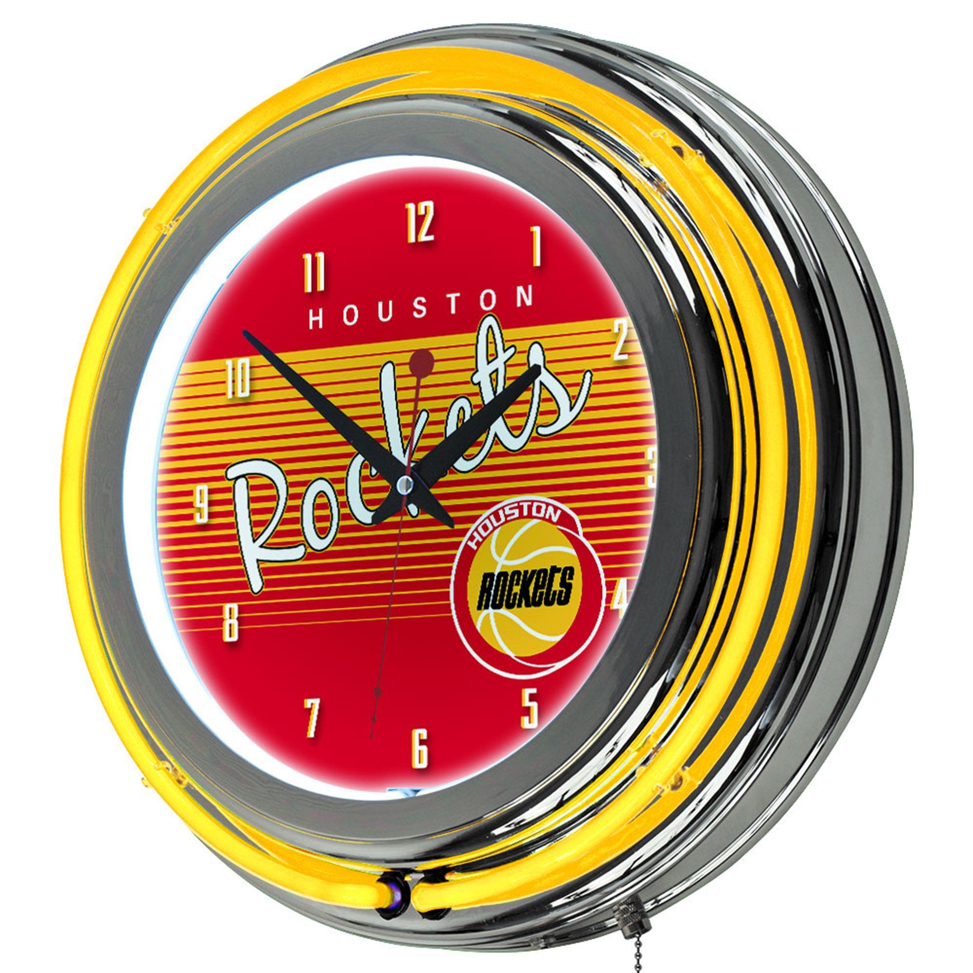 NBA Houston Rockets Ring Neon Clock, One Size, Chrome