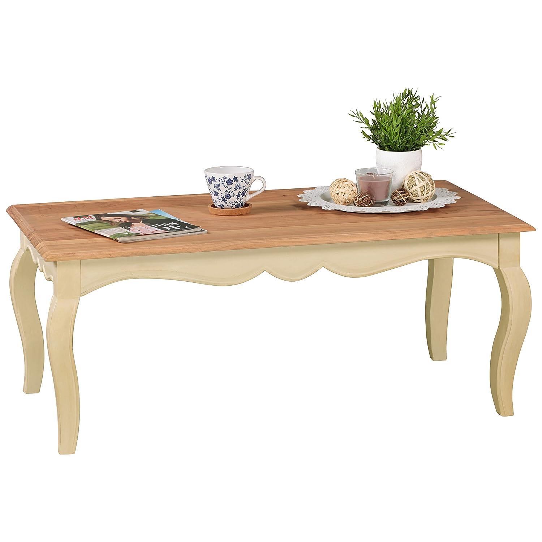 Wohnling Vintage Couchtisch ANGORI massiv 110 x 60 cm, Wohnzimmertisch aus Mango Massivholz, Opium Beistelltisch rechteckig in weiß Holz- Französischer Landhausstil