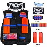 Kinder Taktische Weste Jacke Set ( kommt mit Schädel-Gesichtsmaske + Schutzbrille + 20er Dart Nachfüllpack + 2er Handgelenk Bandolier + 1er Clip Magazine für 12-Dart ) für Nerf N-Strike Elite Zubehör