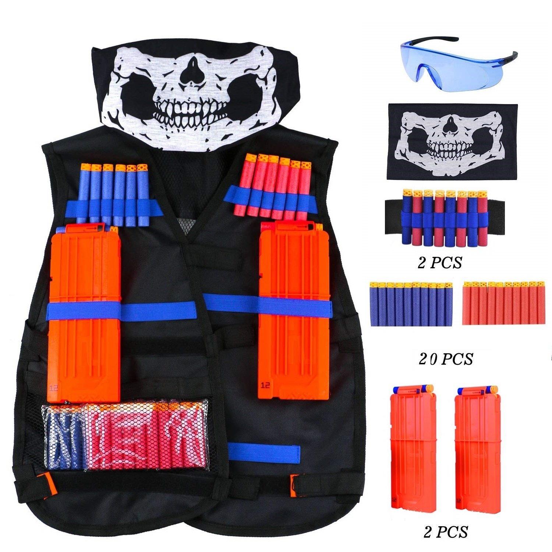Weste für Nerf, Honkid Kinder Taktische Weste Jacken Kit Sets für Nerf Spielzeug Pistole N-Strike Elite Serie( Gesichtsmaske + Schützende Schutzbrillen +10pcs Schaum-Dart + 2pcs Schnellen Wiederaufladeclip) Weste für Nerf