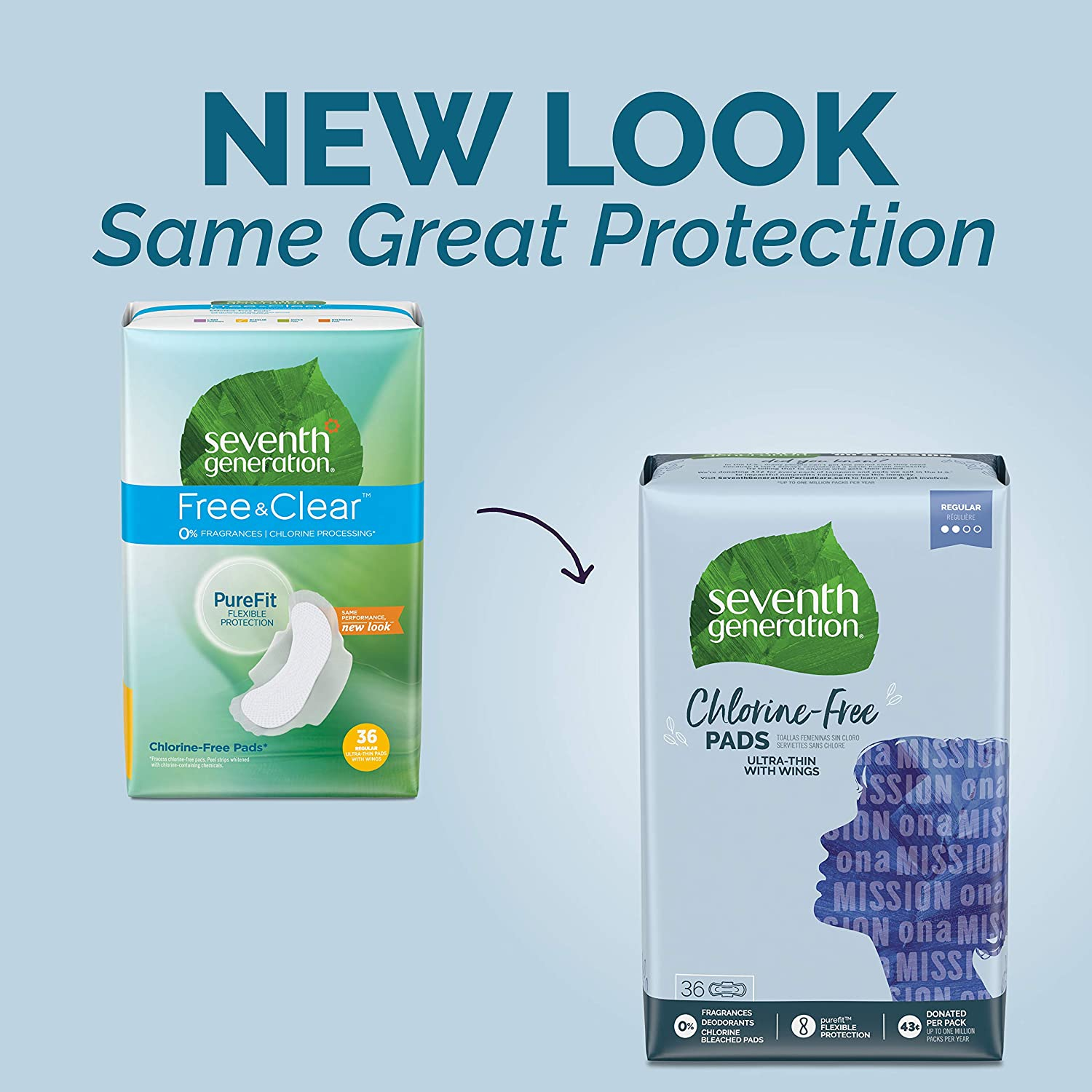 Seventh Generation Ultra Thin Pads with Wings, Regular Absorbency, Chlorine Free, 36 Count (Packaging May Vary): Health & Personal Care
