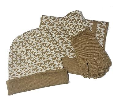 46453643b Michael Kors Women's 3 Piece Set MK Logo Scarf, Hat & Gloves, Camel ...