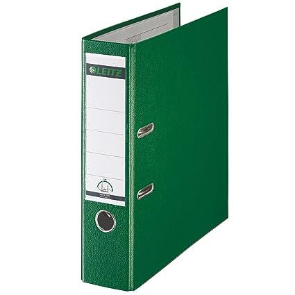 Leitz 10105055, Archivador de Palanca, A4, Lomo recto de 80 mm de ancho, Plástico, Verde