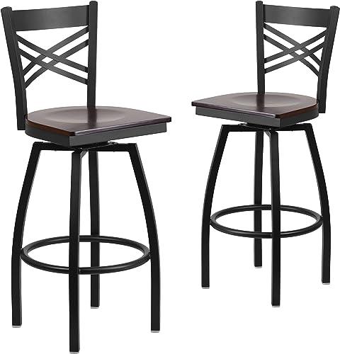 Flash Furniture 2 Pk. HERCULES Series Black X Back Swivel Metal Barstool – Walnut Wood Seat