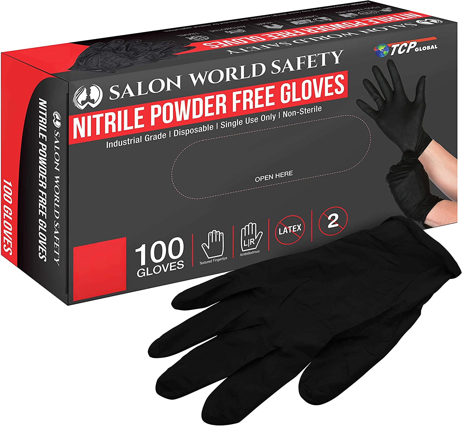 Salon World Safety Blue Nitrile Disposable Gloves, 3.5 Mil - Latex Free (Small, Medium, Large, X-Large)