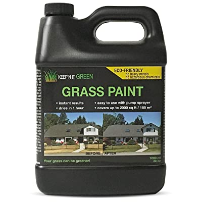 1000 sq ft 34 oz Keep'N It Green Grass Turf Liquid Spray paint Dye Concentrated To Repair Yard, Lawn, Dog Pee, Brown Yellow Dead Grass and Drought. : Industrial & Scientific