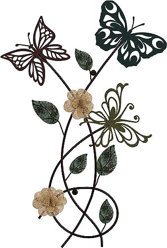 Lavish Home Garden Metal Wall Art Hand Painted 3D Butterflies Flowers for Modern Farmhouse Rustic Home or Office Decor