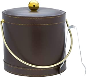 Hand Made In USA Brown Leatherette With White Stitching Double Walled 3-Quart Insulated Ice Bucket With Bonus Ice Tongs