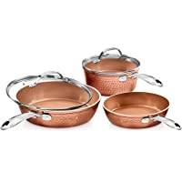 Gotham Steel Premium Hammered Cookware – 5 Piece Ceramic Cookware, Pots and Pan Set with Triple Coated Nonstick Copper…
