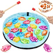 Gamenote Magnetic Alphabet Fishing Game for Toddlers - 26 Double Sided Wooden Fish with 2 Magnet Poles for Letter Recognition