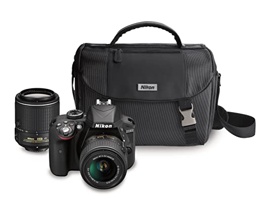 Nikon D3300 DX-format DSLR Kit w/ 18-55mm DX VR II & 55-200mm DX VR II Zoom Lenses and Case Point & Shoot Digital Cameras at amazon