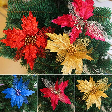 amazoncom bluelans gold glitter poinsettia christmas tree ornaments artificial flower wedding party decoration gold home kitchen - Poinsettia Christmas Tree Decorations