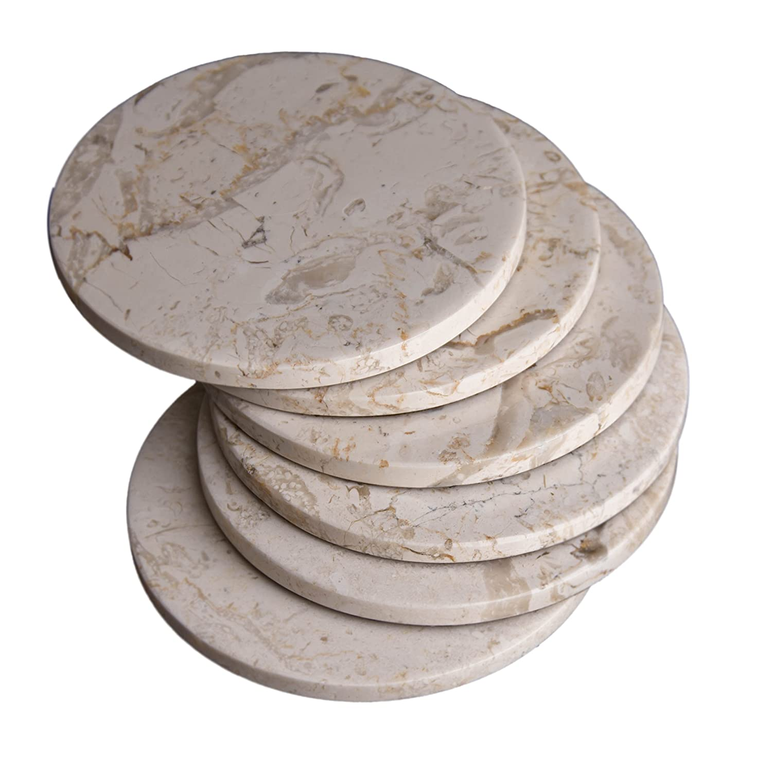 3.5 Inches Beige Marble Stone Coasters 9 cm CraftsOfEgypt Set of 4 Protection from Drink Rings in Diameter Polished Coasters