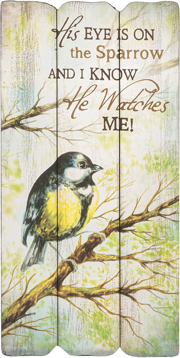 P. Graham Dunn His Eye is On The Sparrow 12 x 6 Small Fence Post Wood Look Decorative Sign Plaque