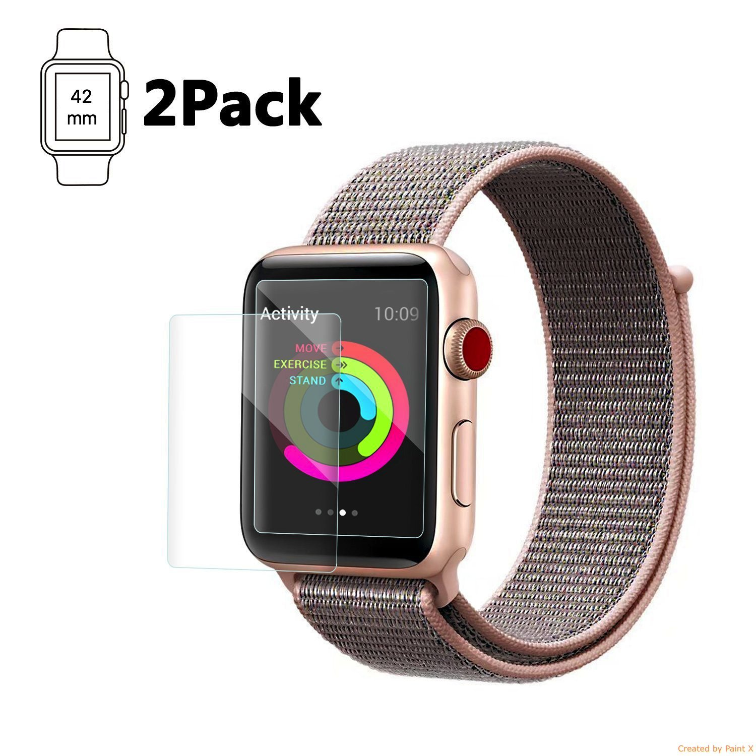 Casual Accessories Apple Watch 42 mm Screen Protector (Series 3/2/1 Compatible) [2-Pack], BodyArmor Full Coverage Screen Protector for Apple Watch Military-Grade Clear HD Anti-Bubble Film (42)
