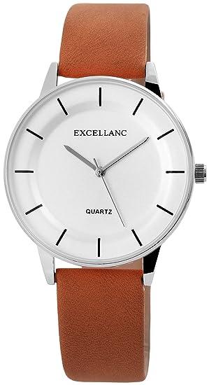 74bf6c92f3ae Reloj mujer piel blanco marrón analógico de cuarzo reloj de pulsera   Amazon.es  Relojes