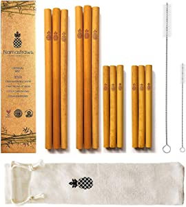 """Namastraws   Reusable Bamboo Drinking Straws 8"""" & 6"""" 100% Natural & Eco Friendly   Biodegradable & Organic   Includes Cleaning Brushes, Straw Pouch & Storage Bag   Dishwasher Safe   Plastic Free"""