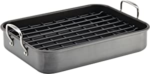 Rachael Ray Brights Hard Anodized Nonstick Roaster / Roasting Pan with Rack - 16 Inch x 12 Inch, Gray