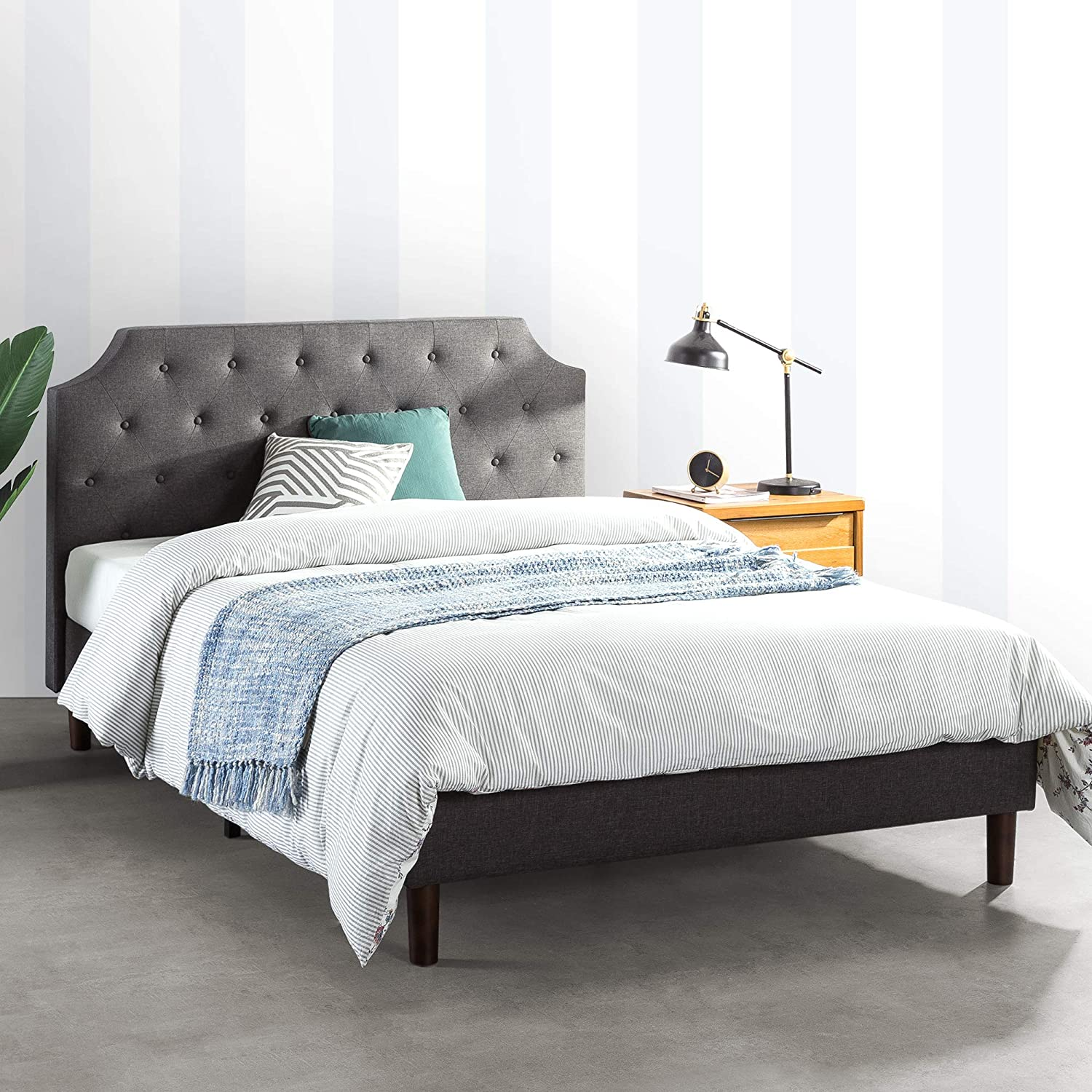 Amazon Com Mellow Mavn Upholstered Platform Bed Modern Tufted Headboard Real Wooden Slats And Legs Dark Grey King Kitchen Dining